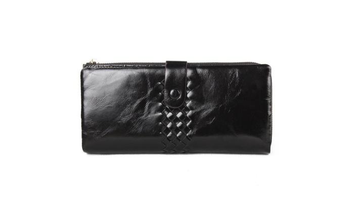 Women's Leather Zipper Biofold Wallet