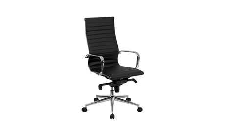 High Back Black Ribbed Upholstered Leather Executive Office Chair 2fa4f9b2-b168-4513-8605-2f897da0adf2