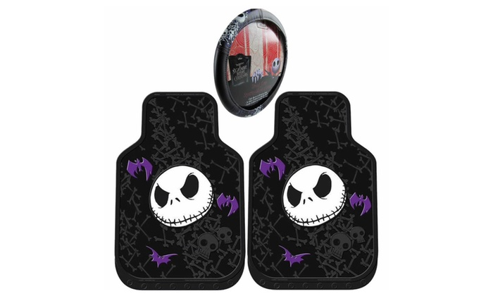 nightmare before christmas steering wheel cover floor mat combo 3pc - Nightmare Before Christmas Steering Wheel Cover