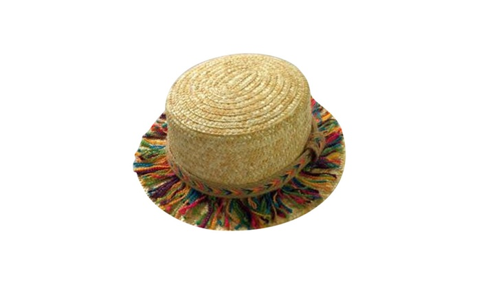 Womens Raffia Straw Panama Fedora Sun Hat  Colorful Tassels