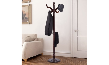 71'' Wood Hat Coat Rack Hanger Tree Stand Hallway Entry Home Furniture