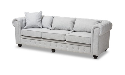 Alaise Beige or Gray Linen Tufted Scroll Arm Chesterfield Sofa
