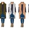 Women Fashion Cassimere Open Front Lapel Irregular Hem Waistcoat