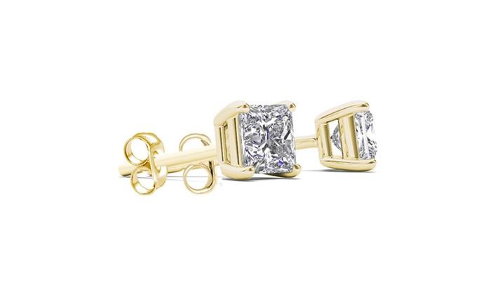 3d9987596 14K Yellow Gold 3/8ct TDW Princess-Cut Diamond Stud Earrings (H-I ...