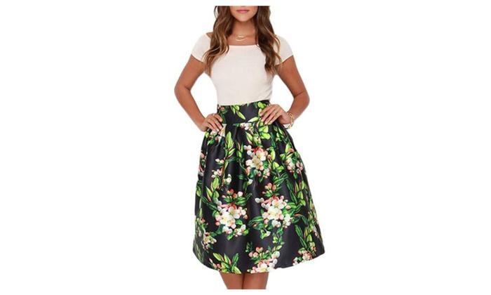 Women's Slim Fit Asymmetric Hem Printed Stylish Skirts