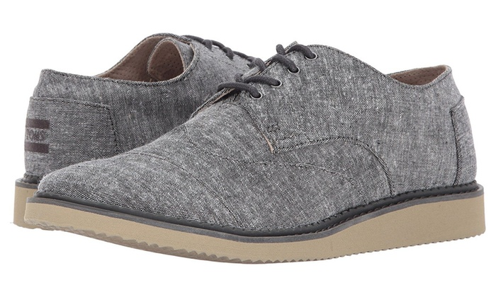TOMS Men's Brogue Black Slub Chambray Oxford