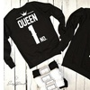 Unisex King Queen No.1 Crown Black Hoodie - Oversized Bold HD Graphics