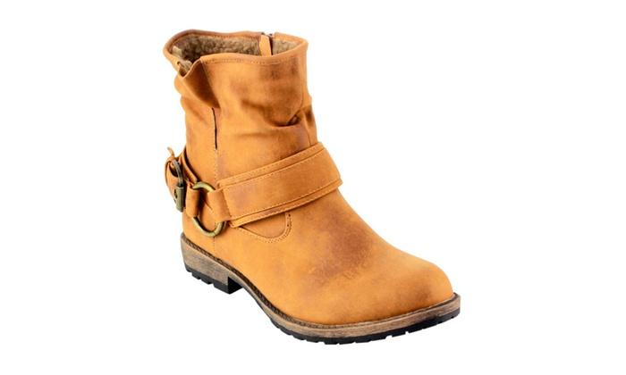 Beston AD37 Women Side Zipper Lug Sole Flat Heel Costume Ankle Booties