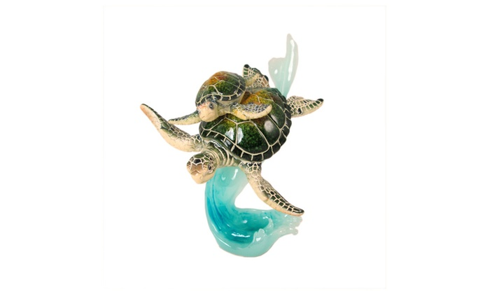 Up to 35 off on mother and baby sea turtles o groupon goods mother and baby sea turtles on waves figurine publicscrutiny Image collections