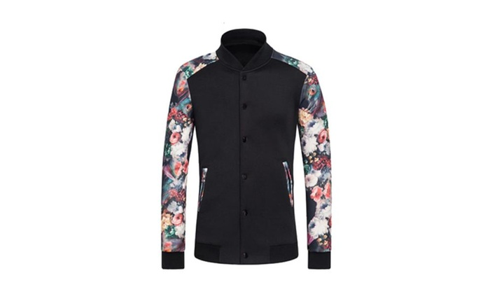 Men's Slim Fit Floral Printed Casual Baseball Jackets