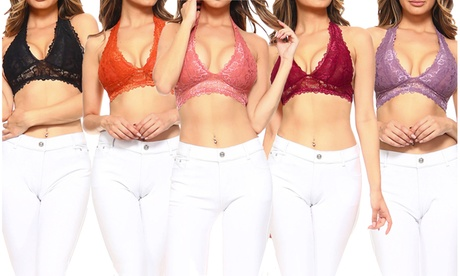 Style Clad Womens Rosette Lace Halter Bralette 26b2a146-0673-458b-9f60-bed748149860