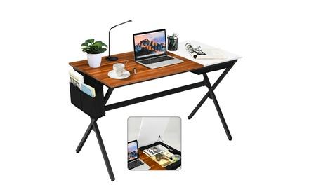 Costway Computer Desk Writing Study Laptop Table w/ Drawer & Storage Bag