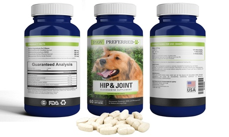 Hip and Joint Glucosamine Beef Chews for Dogs and Cats (60 count) - Made in USA