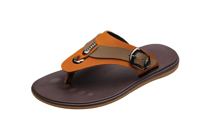 Men's Crasy Horse Leather Flip Flop Sandal