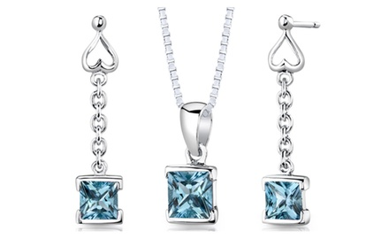 Swiss Blue Topaz Pendant Earrings Set Sterling Silver Princess SS2936