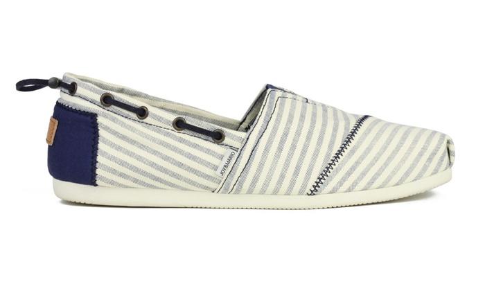 Joy & Mario Men's Navy Stripe Slip-On Espadrille Flat Shoes