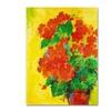 Sheila Golden Geraniums Against Yellow Canvas Print