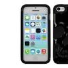 Insten Solid Black/Black Skullcap Hybrid Case For iPhone 5C