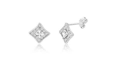 Sofia James Cubic Zirconia Diamond Shaped Stud Earring in Silver