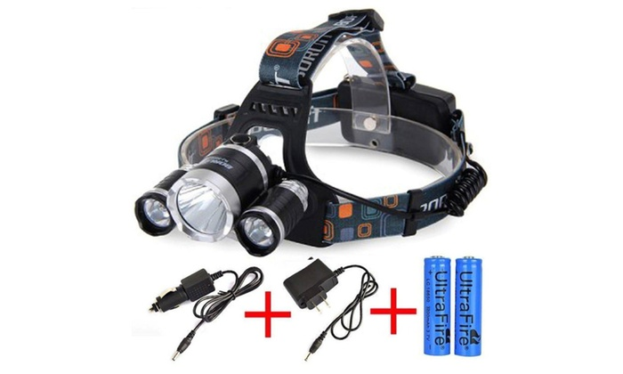 CRE 6000 Lumen Headlamp XM-L 3 x T6 LED Headlight 18650 Rechargeable