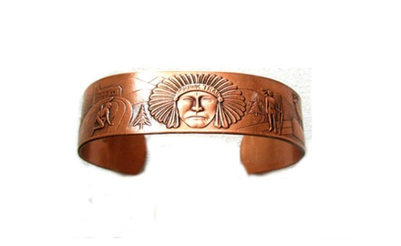 Copper Cuff Bracelet Wide with Native American Designs Beautiful