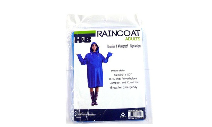Pack of 2 & Pack of 6 Reusable Raincoat w/ Hood and Sleeve Rain Poncho