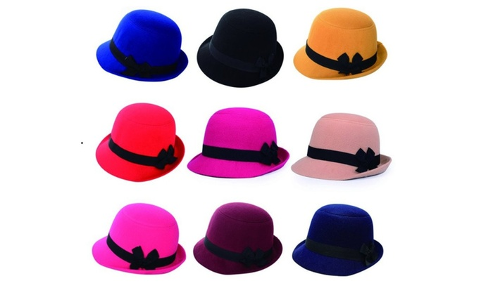 Ladies Bowknot Beach Retro Felt Faux Woolen Fedora Hats