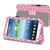 Insten Pink White Dot Leather Stand Case for Samsung Galaxy Tab 3 Kids