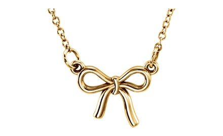 IceCarats Designer Jewelry 14K Yellow Gold Posh Knotted Bow Necklace