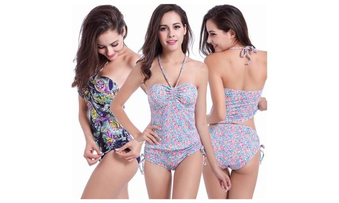 Women's Two Pieces High Waisted Bikini Bottom Swimsuit Set
