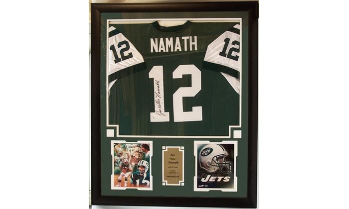 ... Joe Namath New York Jets Autographed Jersey Frame 8993b1a00