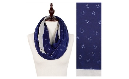 Mini Anchor Print Wide Loop/Infinity Scarf