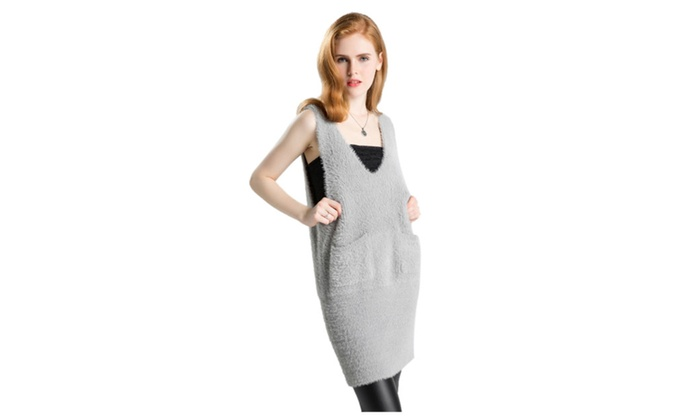Women's Deep V Neck Sleeve Knit Long Sweater Vest