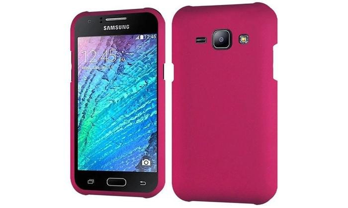 Groupon Goods: Insten Hard Rubber Case For Samsung Galaxy J1 Hot Pink