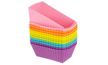 Freshware 12-Pack Silicone Rectangle Muffin Baking Cup, Rainbow Color dc68a50d-c971-4514-a3d3-ba22ef72bee6