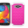 Insten Lattice Hybrid Silicone Case w Bling For Galaxy AvantPink White