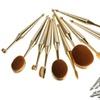 Metallic Oval Cosmetic Makeup Brush Set (10-Piece)