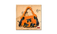 Roderick Stevens 'Bow Purse Black on Orange' Canvas Art (Groupon Goods) photo