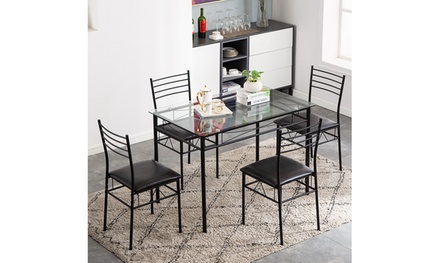 5 PC Dining Set Glass Top Table and 4 Chairs Kitchen Room Furniture