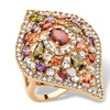 4 TCW Multicolor CZ Teardrop Ring 18k Gold-Plated