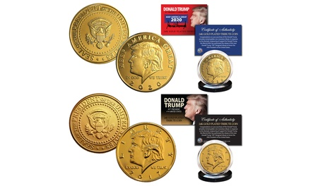 2017 and 2020 Donald Trump Official 24K Gold Plated Tribute Coins - SET of 2