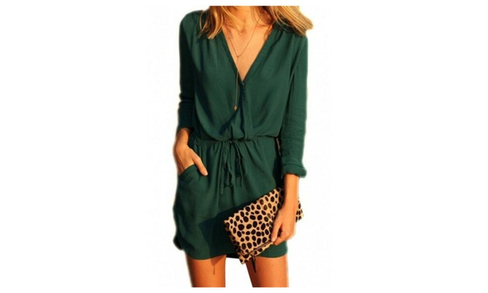 Women's V Neck Drawstring Wasit Loose Short Chiffon Dress