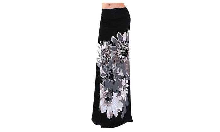 4everfunky: Black Classic Large Daisy Floral Fashion Maxi Skirt U.S.A