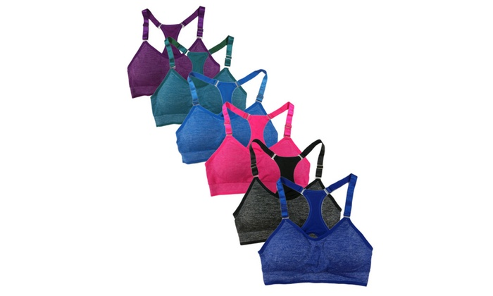 Women's 6 Pack Bright Heather Color Adjustable Straps Sport Bras