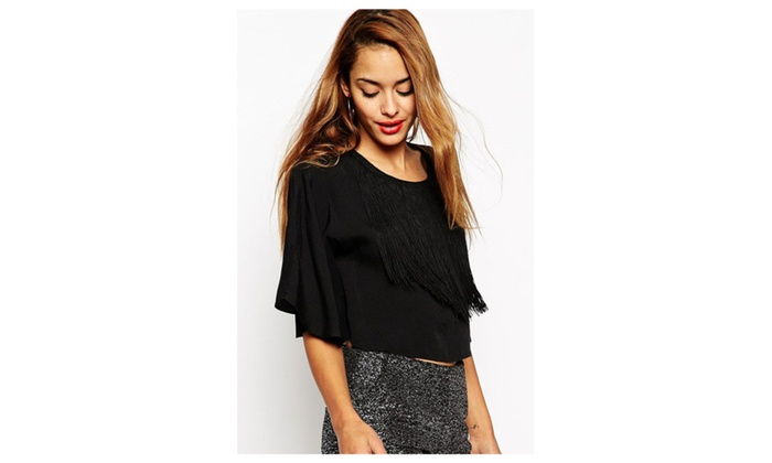 Women's Fringe Detail Kimono Sleeve Crop Top - Black / one size
