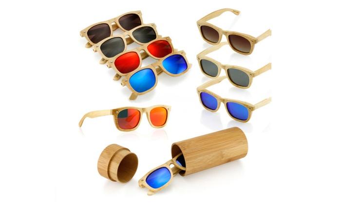 Vintage Unisex Polarized Wooden Frame Bamboo Sunglasses with Wood Case