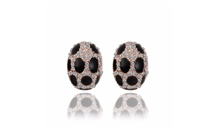 Silver Moon Jewelry: 18K Rose Gold  Oval Stud Earrings with Onyx Gems