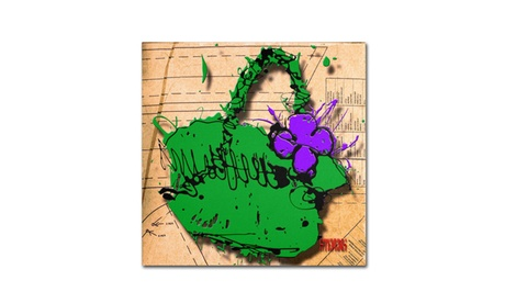 Roderick Stevens 'Flower Purse Purple on Green' Canvas Art (Goods For The Home Prints & Decals) photo
