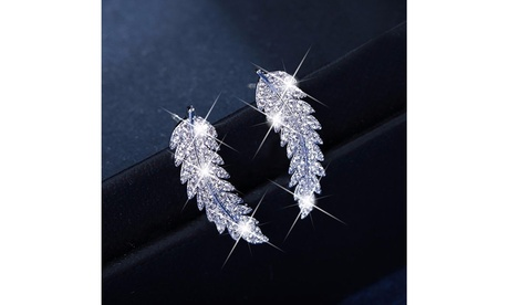 925 Sterling Silver 18k Gold Feather Crystal Diamond Cluster Cuff Earrings