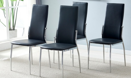 Simple PU Leather Cushion High Back Dining Chair Set of 4